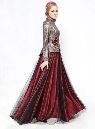 Jakarlı Abiye Elbise - Bordo - DMN PLUS