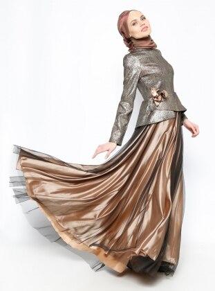 DMN Jakarlı Abiye Elbise - Gold - DMN PLUS
