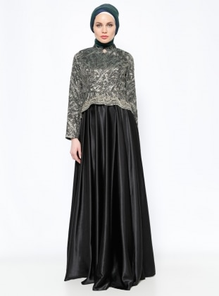 Jakarlı Abiye Elbise - Gold - DMN PLUS