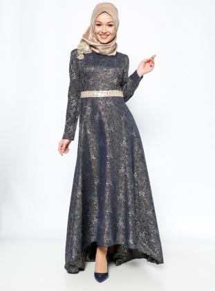 Muslim Evening Dress - Navy Blue - DMN 248676