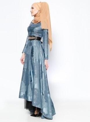 Jakarlı Abiye Elbise - Mavi - DMN PLUS