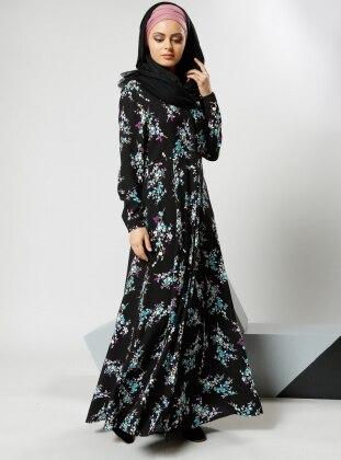 Natural Kumaşlı Gizli Düğmeli Elbise - Siyah