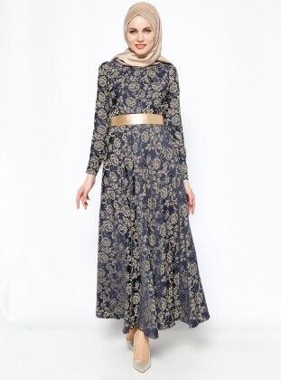 Taş Detaylı Abiye Elbise - Lacivert - DMN PLUS DMN