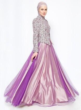 Taş Detaylı Abiye Elbise- Mor - DMN PLUS