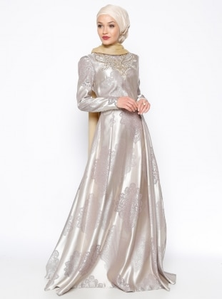 DMN Taşlı Abiye Elbise - Krem - DMN PLUS