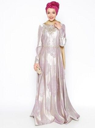 Taşlı Abiye Elbise - Lila - DMN PLUS