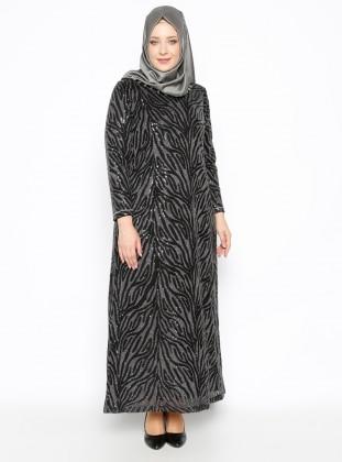 Taşlı Abiye Elbise - Siyah
