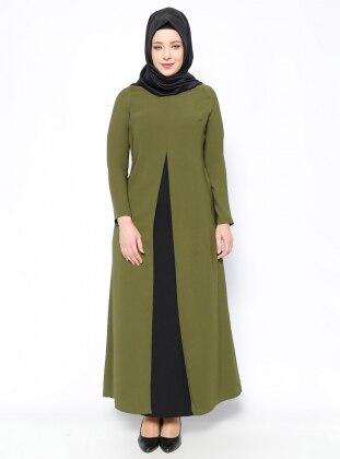 A Pile Detaylı Elbise - Haki