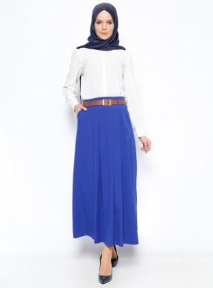 Sevilay Giyim Cep Detaylı Etek - Saks