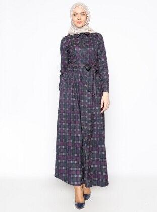Düğmeli Elbise - Lacivert