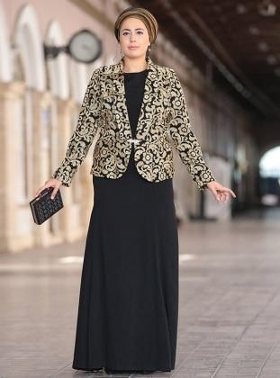 Farah Abiye Ceket&Elbise İkili Takım - Siyah Nesrin Emniyetli