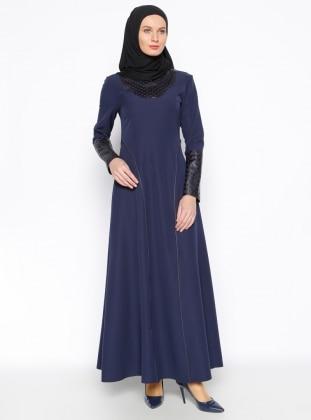 Lazer Kesim Detaylı Elbise - Lacivert Jamila