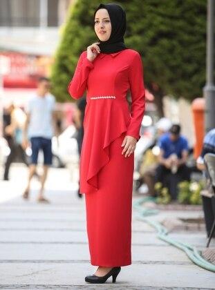 Nurgül Çakır Sahra Tunik&Etek İkili Takım - Kırmızı