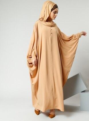 Salaş Önden Düğmeli Elbise - Safran