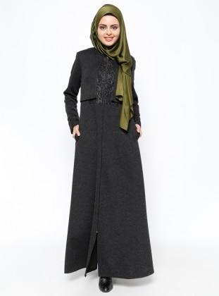 Fermuarlı Pardesü - Siyah