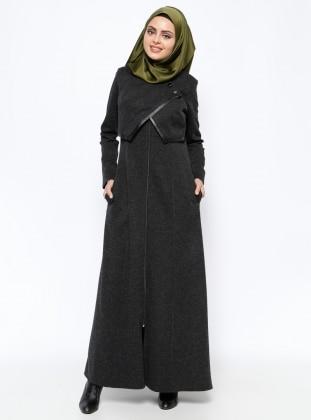 Fermuarlı Pardesü - Siyah YAĞMUR