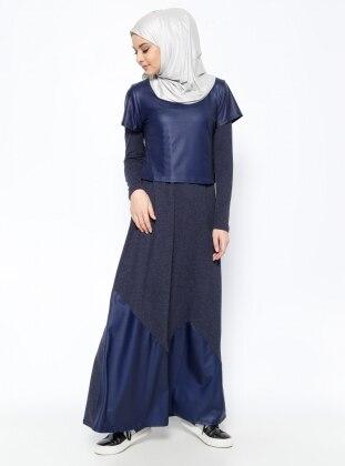 Kısa Kollu Bluz&Elbise İkili Takım - Lacivert