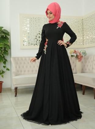 Elisa Abiye Elbise - Siyah SomFashion