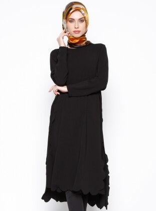 Lazer Kesim Detaylı Tunik - Siyah