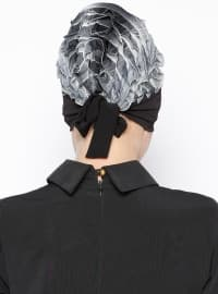 Pinless - Gray - Black - Instant Scarf