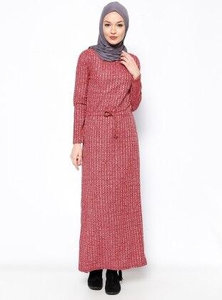 Beli Bağcıklı Elbise - Bordo