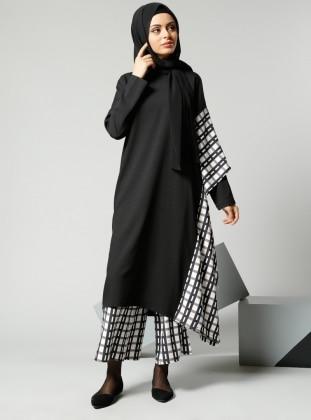 Black - Checkered - Pants - Refka