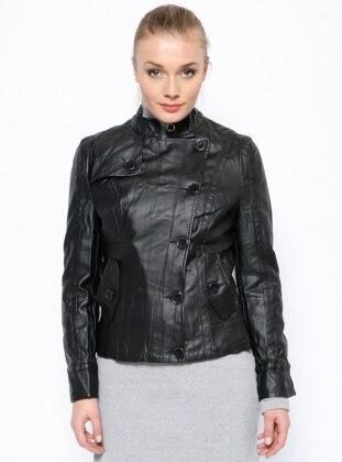 Deri Ceket - Siyah Sementa