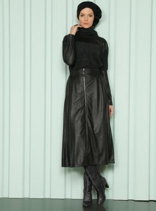 Luvice Fermuar Detaylı Etek - Siyah