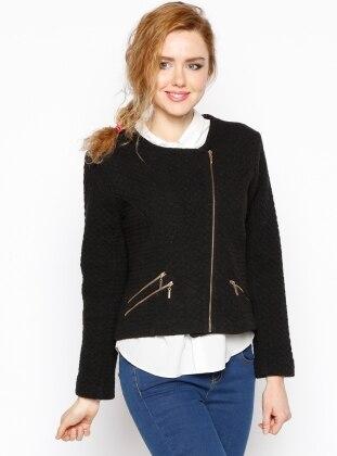Fermuarlı Ceket - Siyah
