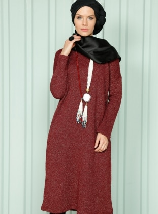 Simli Triko Tunik - Bordo