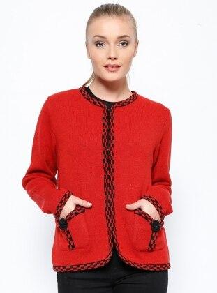 Yünlü Ceket - Kırmızı Sementa