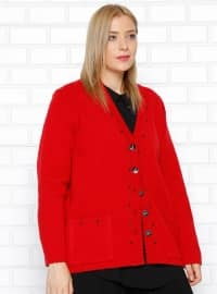 Plus Size Cardigan - Red