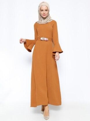 Çiçekli Elbise - Camel