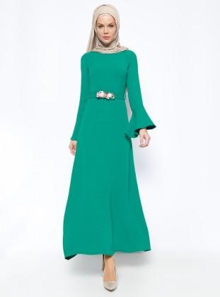 Çiçekli Elbise - Yeşil