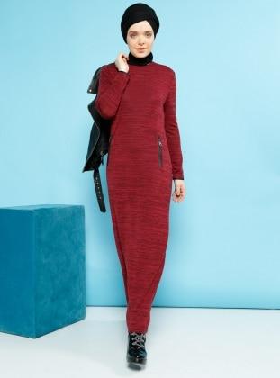 Fermuar Detaylı Elbise - Mürdüm