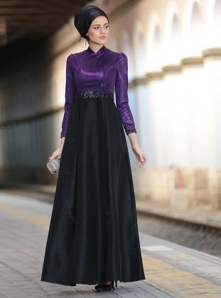 Işıltı Abiye Elbise - Mor
