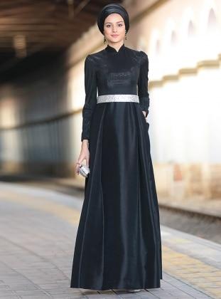 Işıltı Abiye Elbise - Siyah