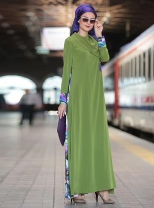 Mendil Yaka Abaya Elbise - Yeşil