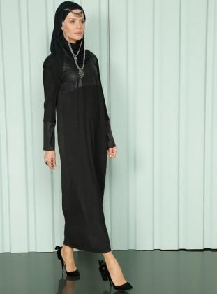 Pliseli Elbise - Siyah