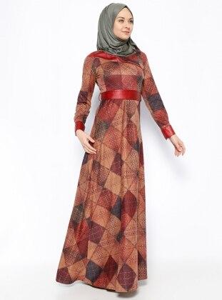 DMN Desenli Elbise - Bordo - DMN PLUS