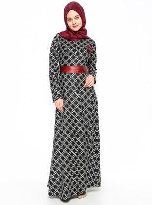 Desenli Elbise - Siyah - DMN PLUS