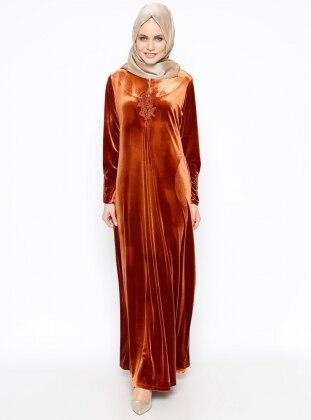 Drop Baskılı Kadife Elbise - Kiremit Ginezza