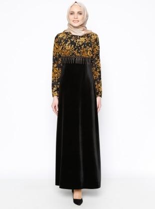 Drop Baskılı Kadife Elbise - Siyah Hardal Ginezza