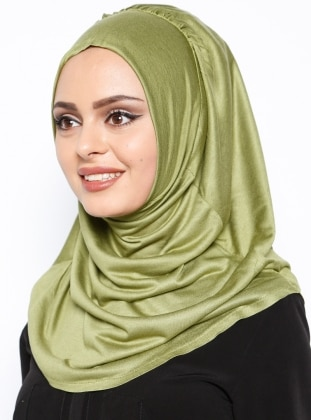 Green - Cotton - Plain - Pinless - Instant Scarf