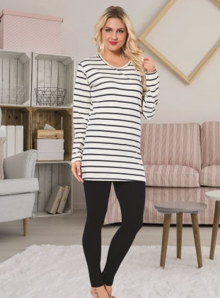 Pijama - Beyaz siyah