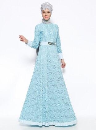 Güpürlü Abiye Elbise - Mavi