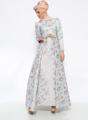 Jakarlı Abiye Elbise - Mavi Mislina