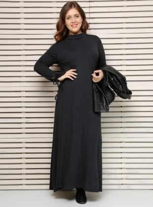Alia Kolları Bağcıklı Elbise - Antrasit