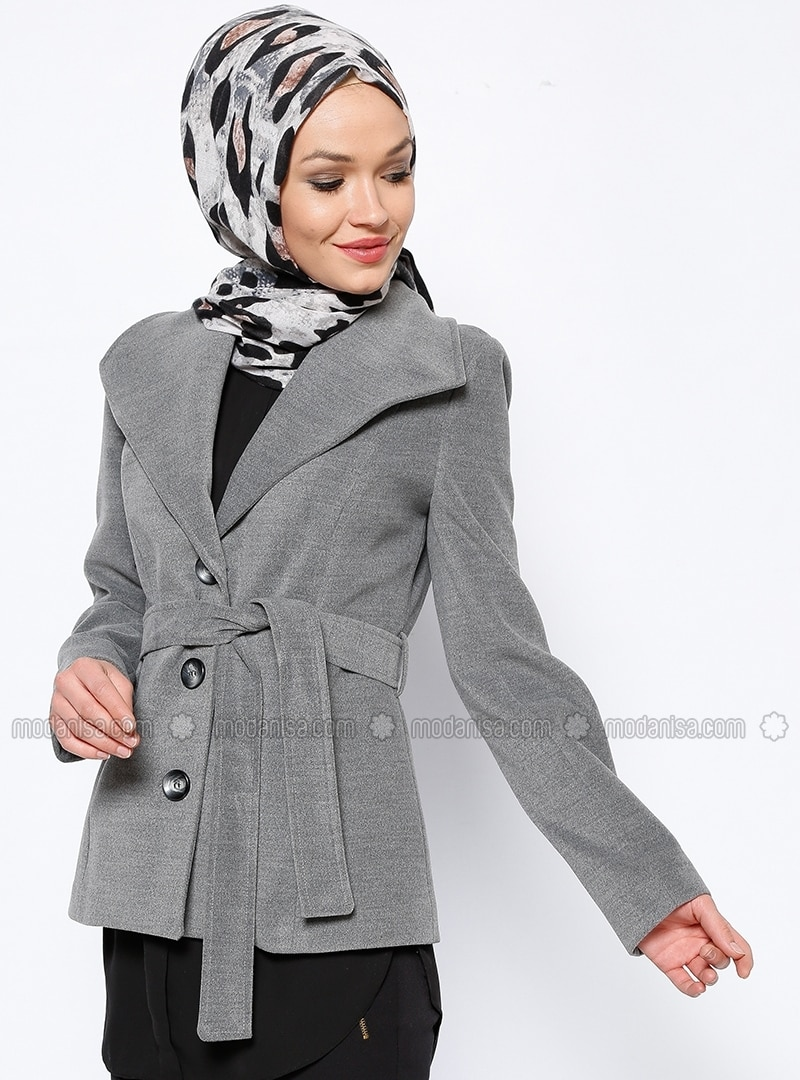 Manteau Court Tendance Gris Eva Fashion
