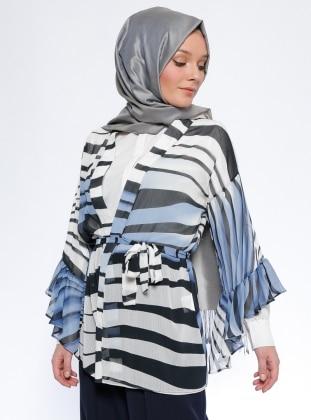 Desenli Kimono - Mavi İroni